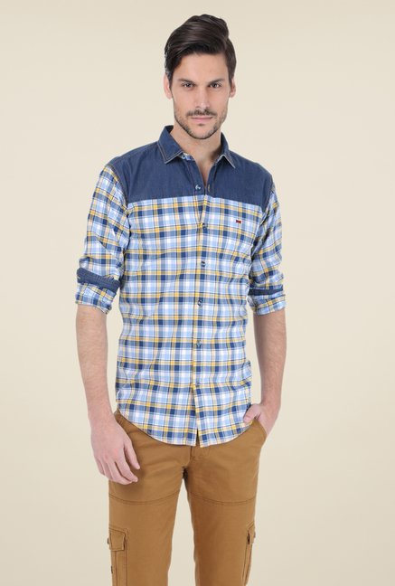 Basics Blue & Yellow Checks Shirt