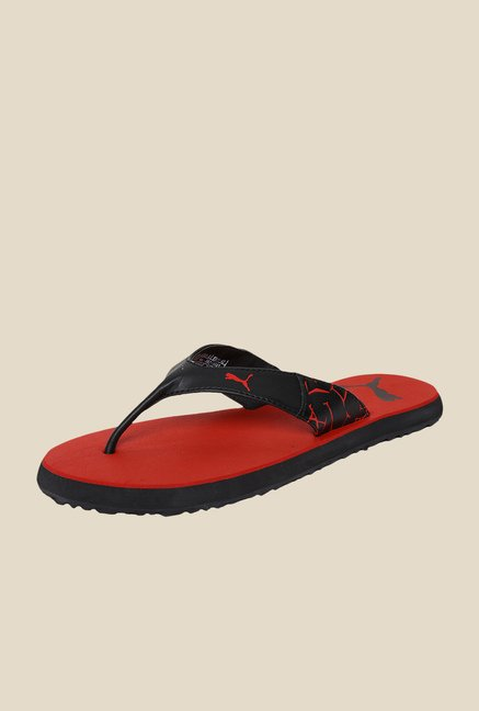 Puma Winglet II DP Black & Ribbon Red Flip Flops