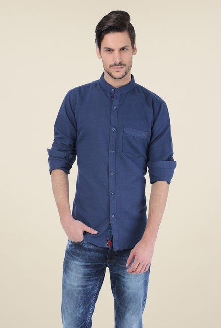 Basics Dark Blue Solid Shirt
