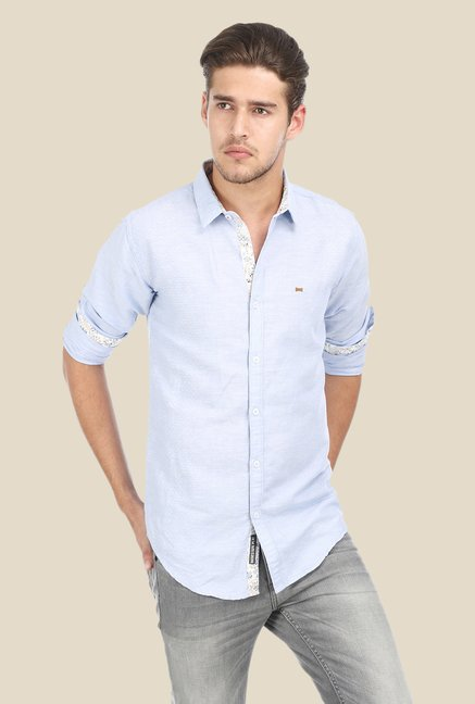 Basics Blue Textured Shirt