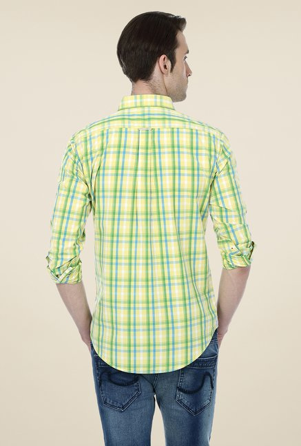 Basics Yellow & Green Checks Shirt