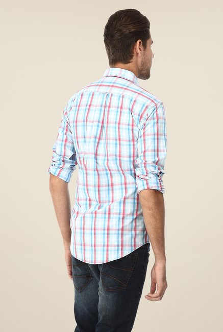 Basics Blue & Coral Checks Shirt