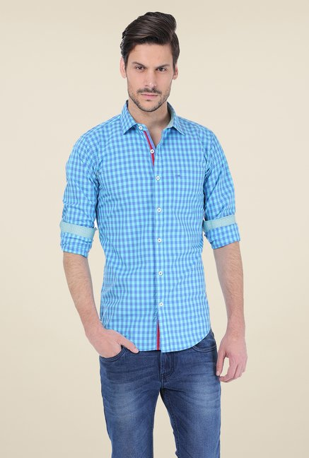 Basics Turquoise Checks Shirt