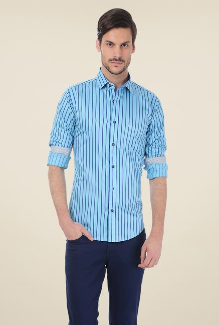 Basics Light Blue Striped Shirt