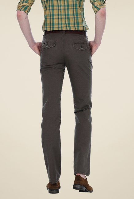 Basics Grey Solid Slim-fit Trousers