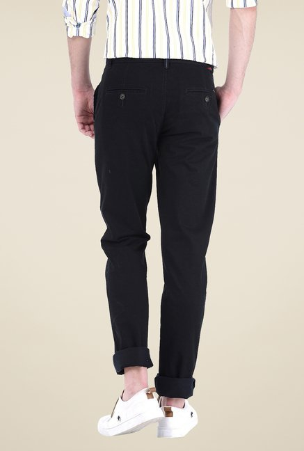 Basics Black Solid Trousers