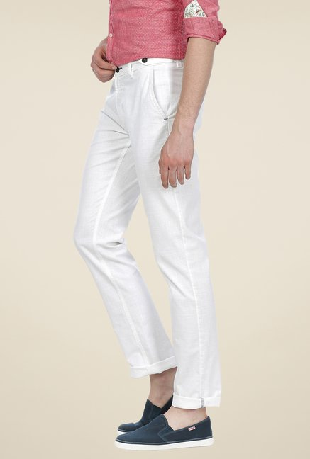 Basics White Solid Mid-rise Trousers