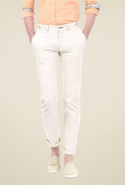 Basics Off-white Solid Trousers