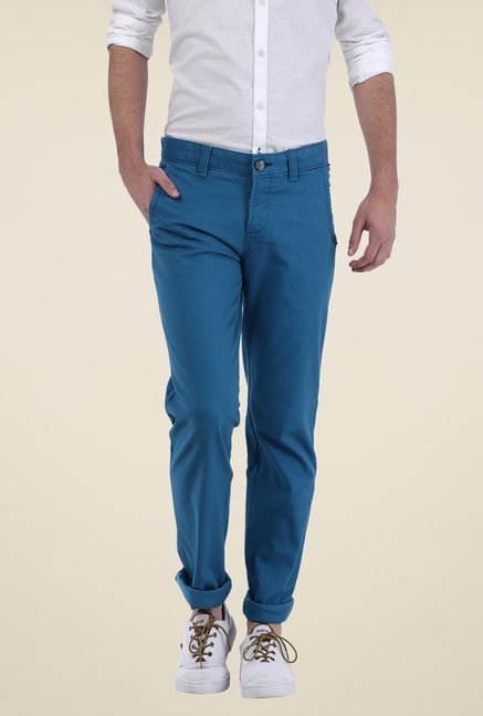 Basics Blue Solid Trousers