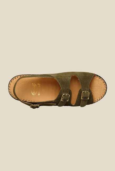 Scholl Green Back Strap Sandals