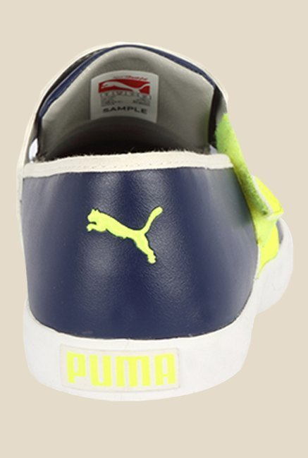 Puma El Rey Milano II DP New Navy & Yellow Plimsolls