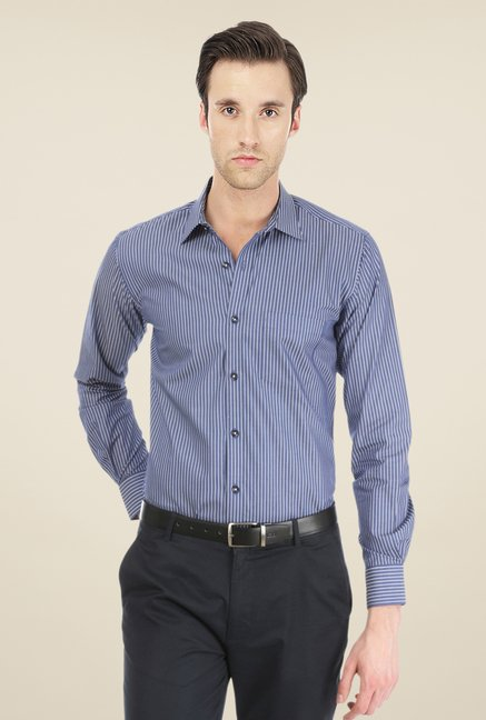 Basics Navy Pin Striped Shirt