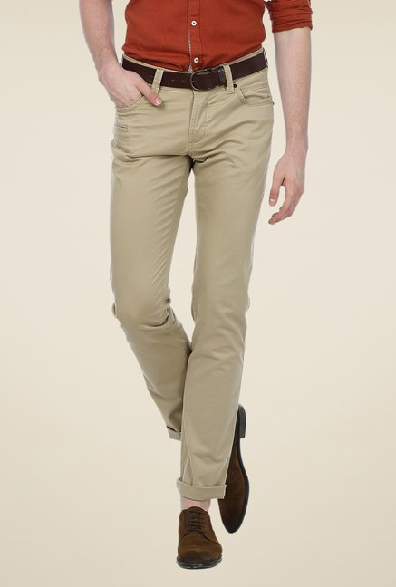 Basics Beige Solid Low-rise Trousers