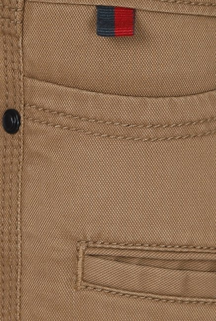 Basics Khaki Solid Low-rise Trousers