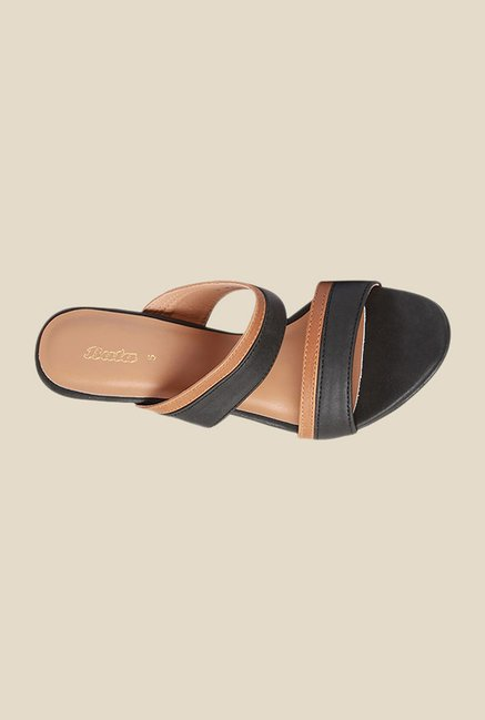 Bata Gisele Black & Beige Casual Sandals