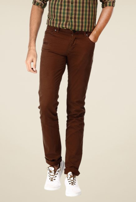Basics Brown Solid Skinny-fit Trousers