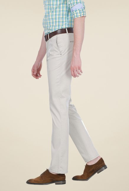 Basics Beige Solid Slim-fit Trousers