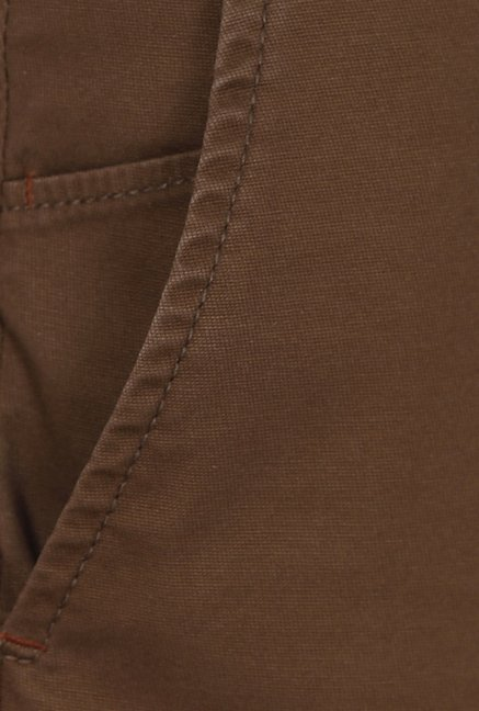 Basics Brown Solid Mid-rise Trousers
