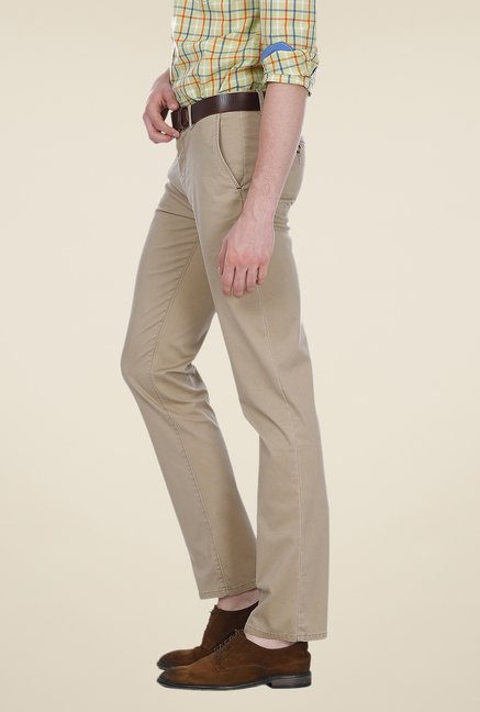Basics Beige Solid Mid-rise Trousers