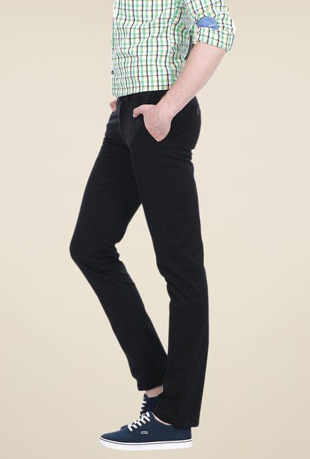 Basics Black Solid Mid-rise Trousers