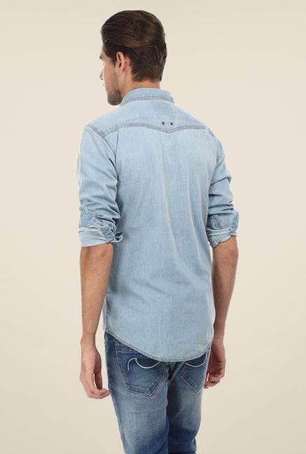 Basics Denim Blue Solid Shirt