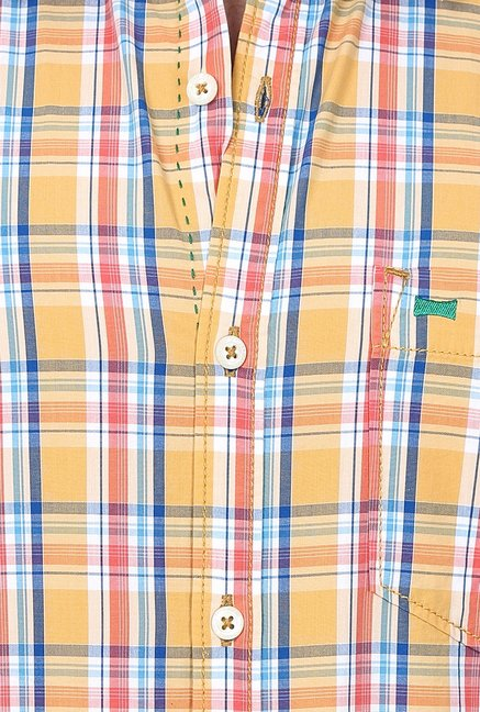 Basics Orange Checks Shirt