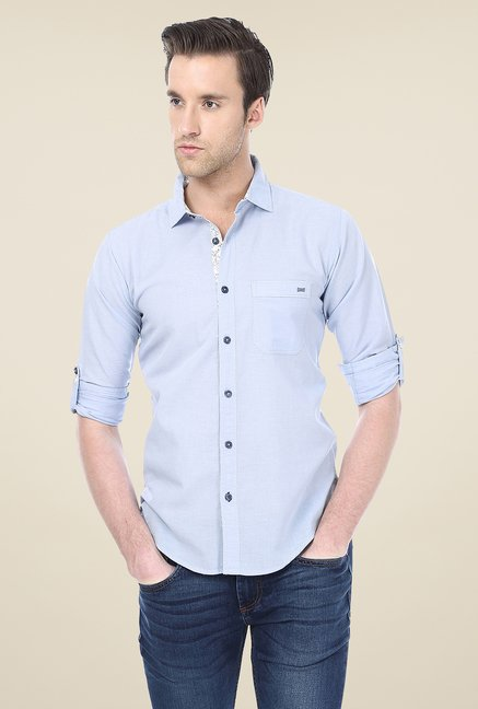 Basics Light Blue Solid Shirt