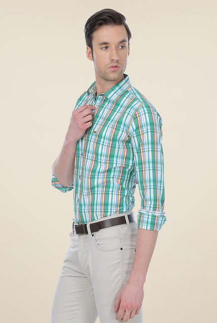 Basics Sea Green Checks Shirt