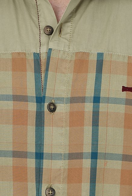 Basics Olive Checks Shirt