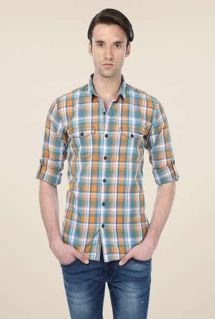 Basics Orange & Blue Checks Shirt