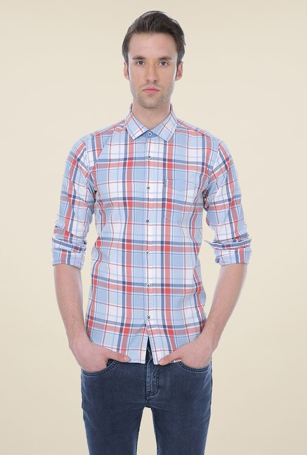 Basics Light Blue Checks Shirt