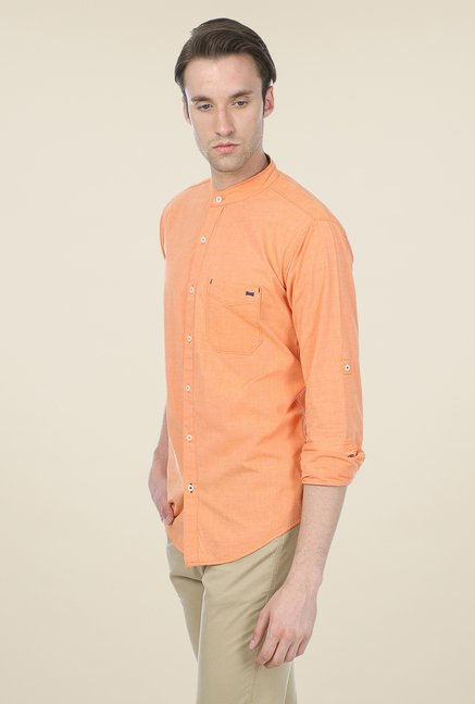 Basics Orange Solid Shirt