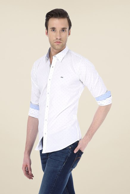Basics White Self Print Shirt