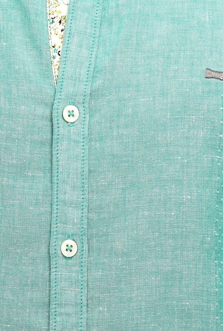 Basics Turquoise Self Print Shirt