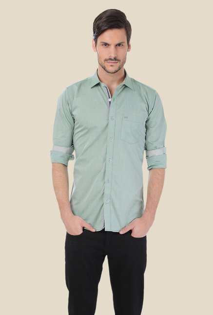 Basics Green Solid Shirt