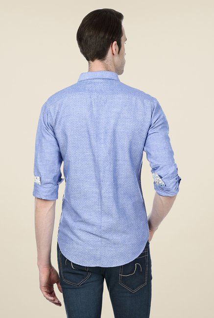 Basics Blue Self Print Shirt
