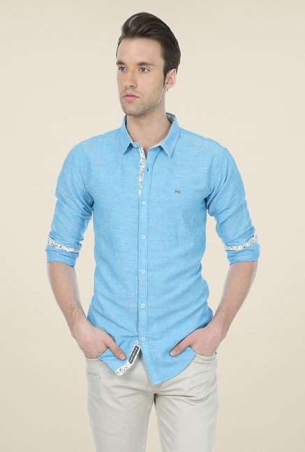 Basics Aqua Self Print Shirt