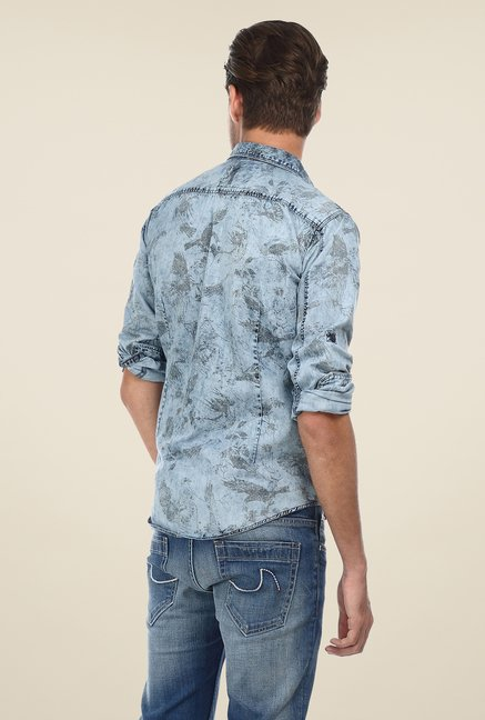 Basics Denim Blue Printed Shirt
