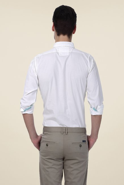 Basics White Solid Shirt