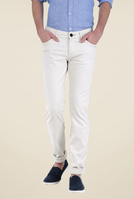 Basics White Solid Trousers