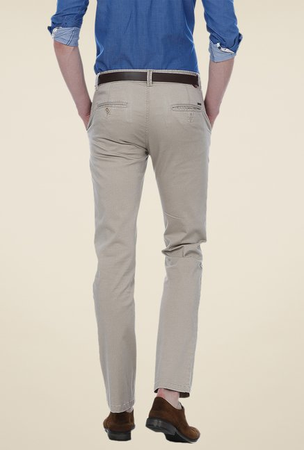 Basics Grey Solid Mid-rise Trousers