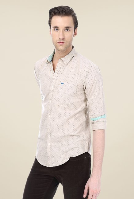 Basics Beige Printed Shirt
