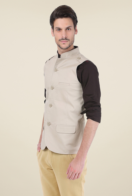 Basics Ecru Solid Jacket