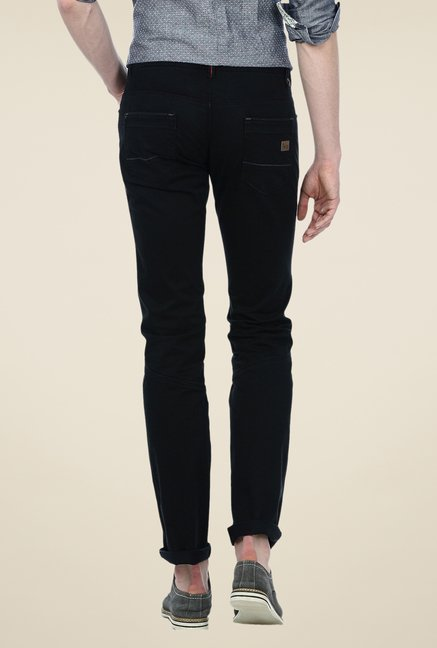 Basics Black Solid Low-rise Trousers