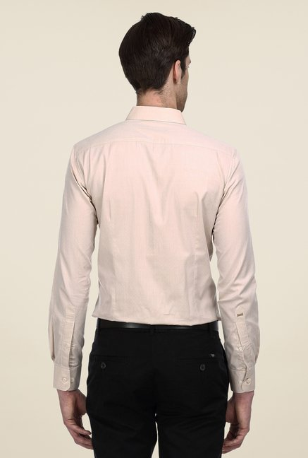 Basics Peach Self Print Shirt
