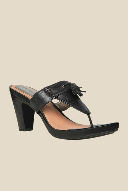 Hush Puppies Pienza Black T-Strap Sandals