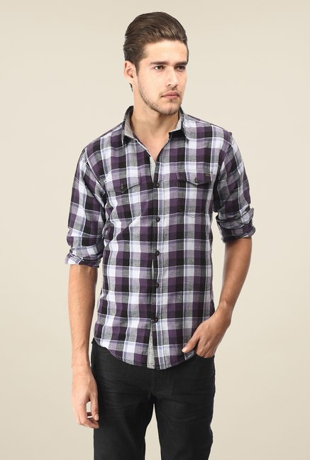 Basics Purple Checks Shirt