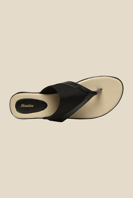 Bata Lycra Black Thong Sandals