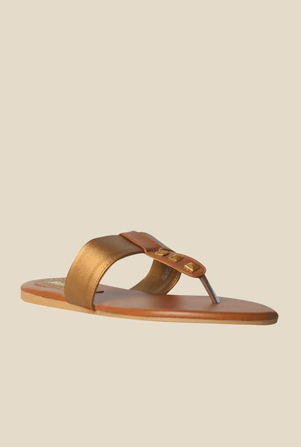 Bata Mango Gold & Brown T-Strap Sandals
