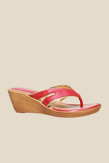 Bata Metallic Red & Golden Thong Sandals